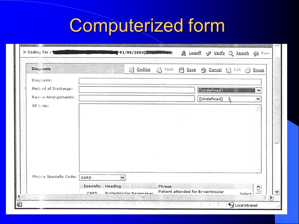 Computerized form