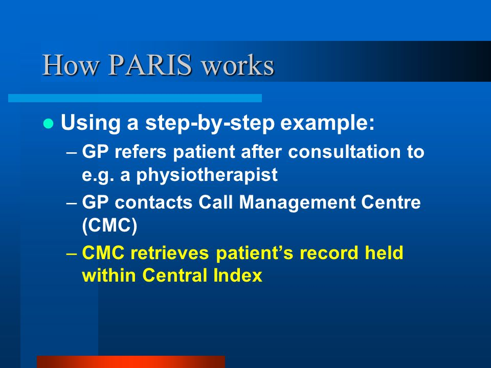 How PARIS works Using a step-by-step example: –GP refers patient after consultation to e.g. a physiotherapist –GP contacts Call Management Centre (CMC