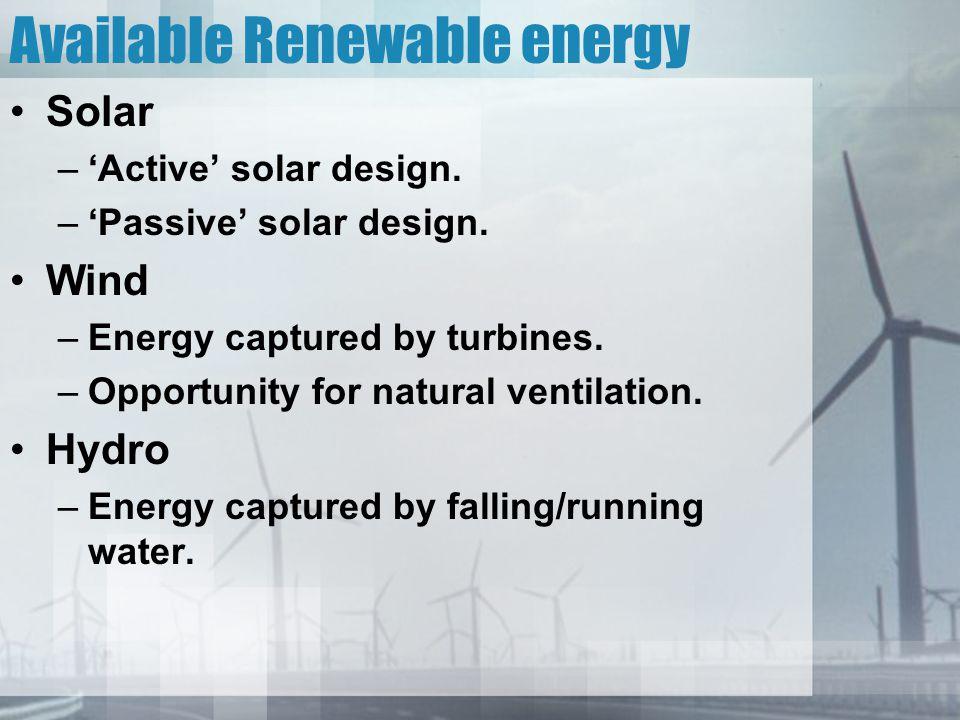 Available Renewable energy Solar –'Active' solar design.