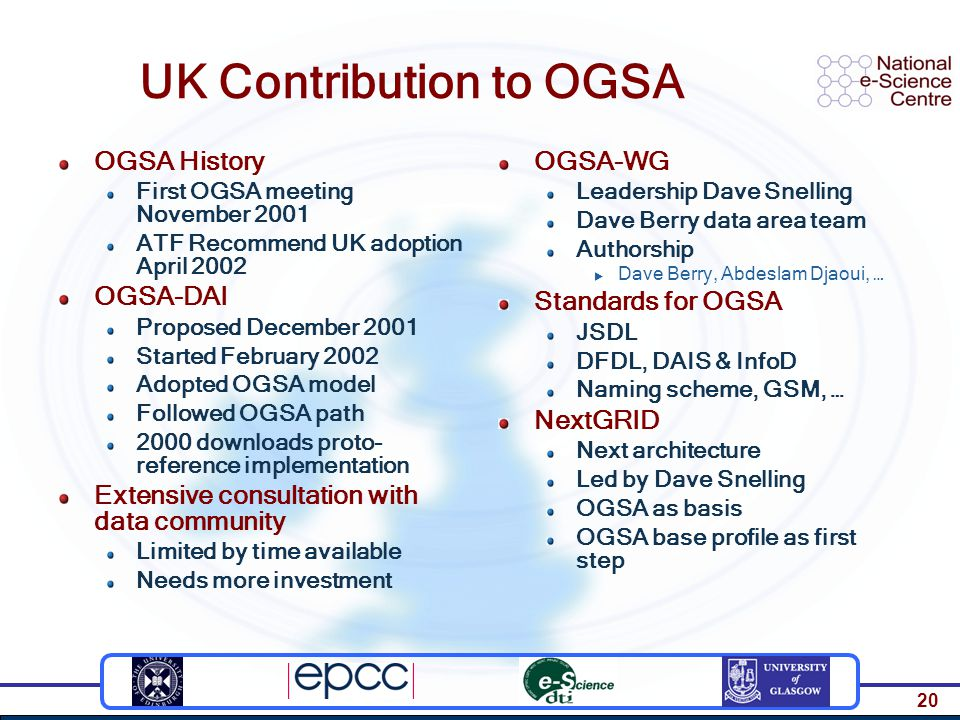 20 UK Contribution to OGSA OGSA History First OGSA meeting November 2001 ATF Recommend UK adoption April 2002 OGSA-DAI Proposed December 2001 Started February 2002 Adopted OGSA model Followed OGSA path 2000 downloads proto- reference implementation Extensive consultation with data community Limited by time available Needs more investment OGSA-WG Leadership Dave Snelling Dave Berry data area team Authorship  Dave Berry, Abdeslam Djaoui, … Standards for OGSA JSDL DFDL, DAIS & InfoD Naming scheme, GSM, … NextGRID Next architecture Led by Dave Snelling OGSA as basis OGSA base profile as first step