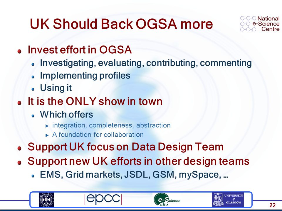 22 UK Should Back OGSA more Invest effort in OGSA Investigating, evaluating, contributing, commenting Implementing profiles Using it It is the ONLY show in town Which offers  integration, completeness, abstraction  A foundation for collaboration Support UK focus on Data Design Team Support new UK efforts in other design teams EMS, Grid markets, JSDL, GSM, mySpace, …