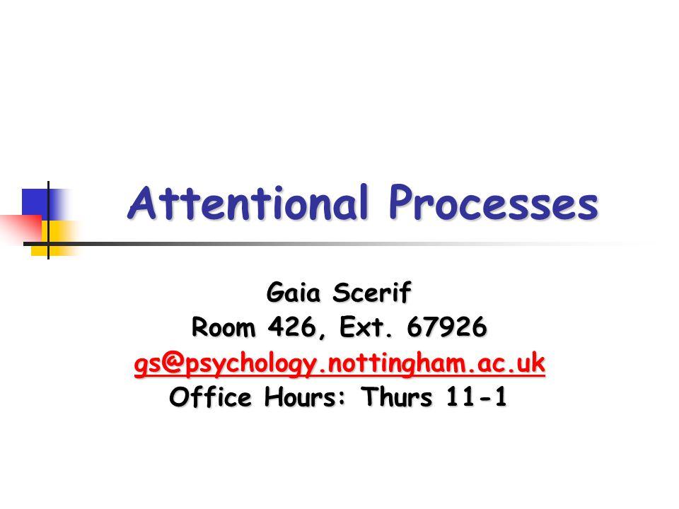 Attentional Processes Gaia Scerif Room 426, Ext. 67926 gs@psychology.nottingham.ac.uk Office Hours: Thurs 11-1