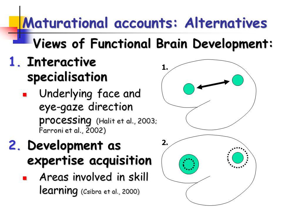 2. Maturational accounts: Alternatives 1.Interactive specialisation Underlying face and eye-gaze direction processing (Halit et al., 2003; Farroni et
