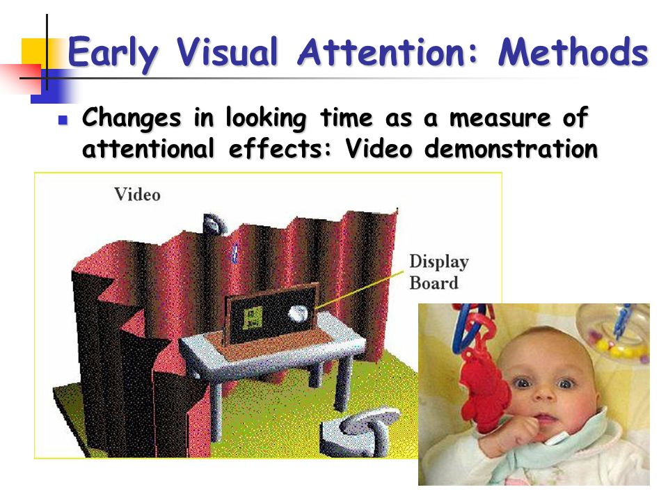Early Visual Attention: Methods Changes in looking time as a measure of attentional effects: Video demonstration Changes in looking time as a measure