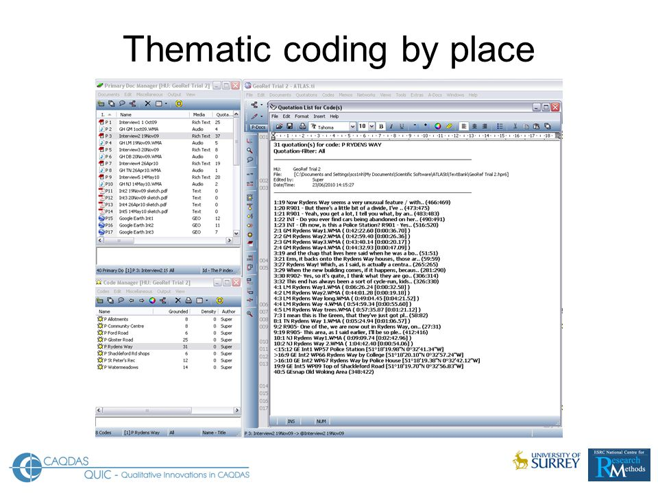 Thematic coding by place