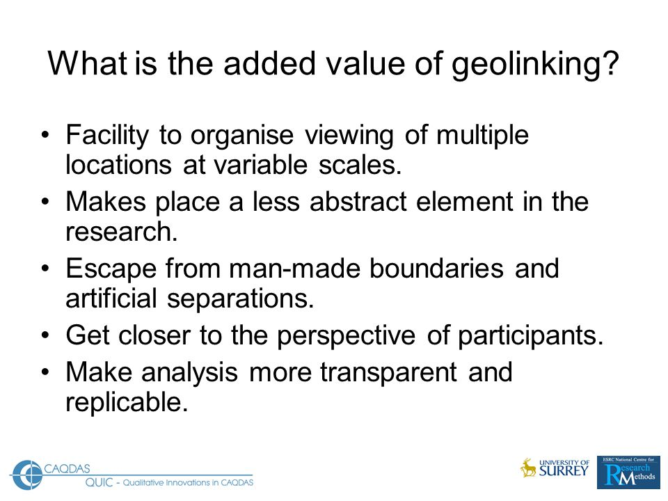 What is the added value of geolinking.