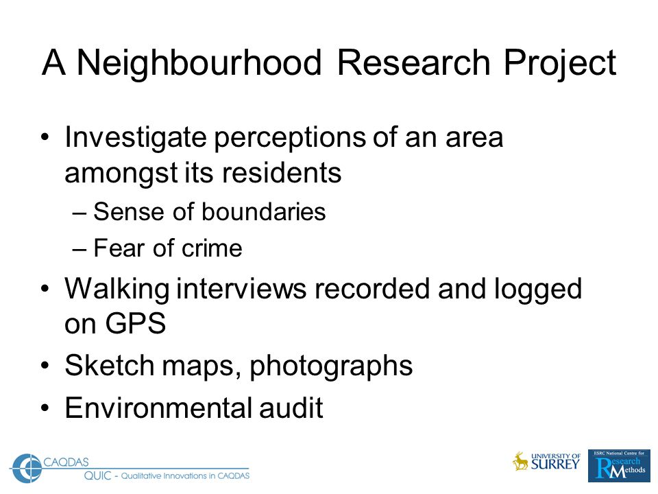 A Neighbourhood Research Project Investigate perceptions of an area amongst its residents –Sense of boundaries –Fear of crime Walking interviews recorded and logged on GPS Sketch maps, photographs Environmental audit