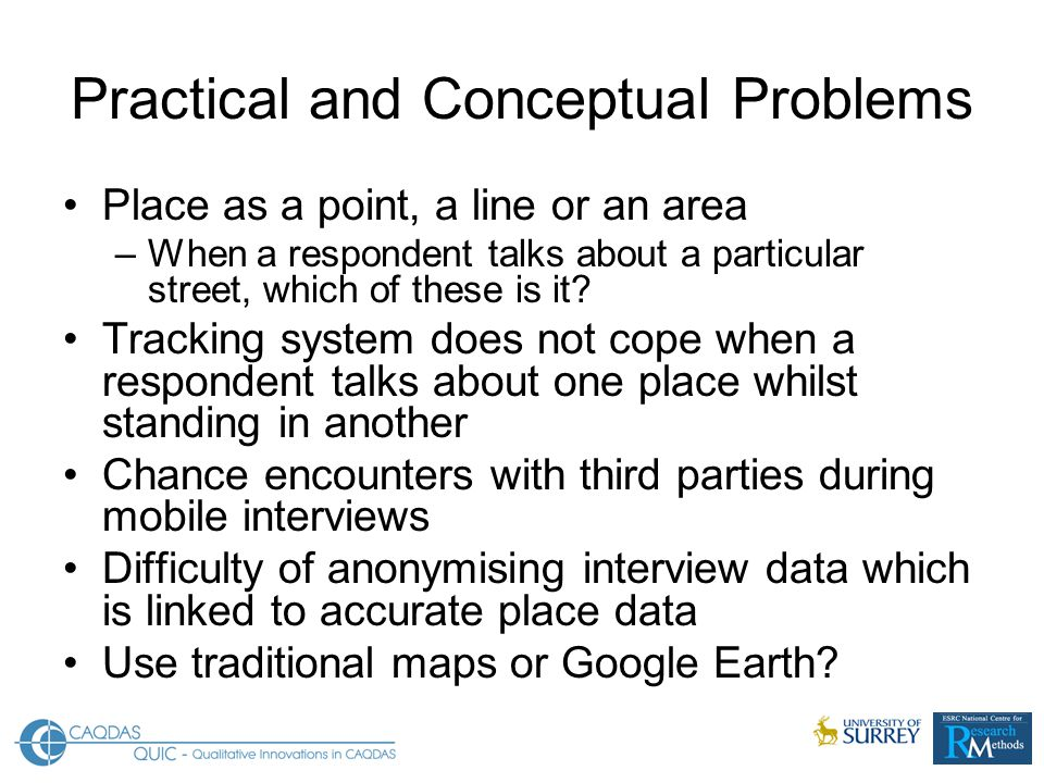 Practical and Conceptual Problems Place as a point, a line or an area –When a respondent talks about a particular street, which of these is it.