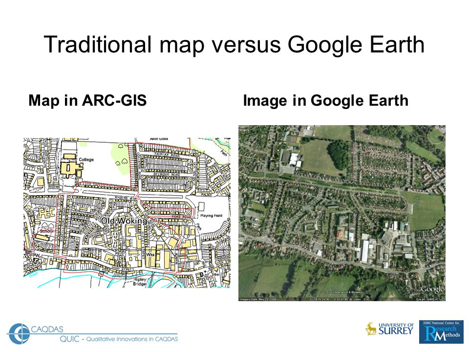 Traditional map versus Google Earth Map in ARC-GISImage in Google Earth
