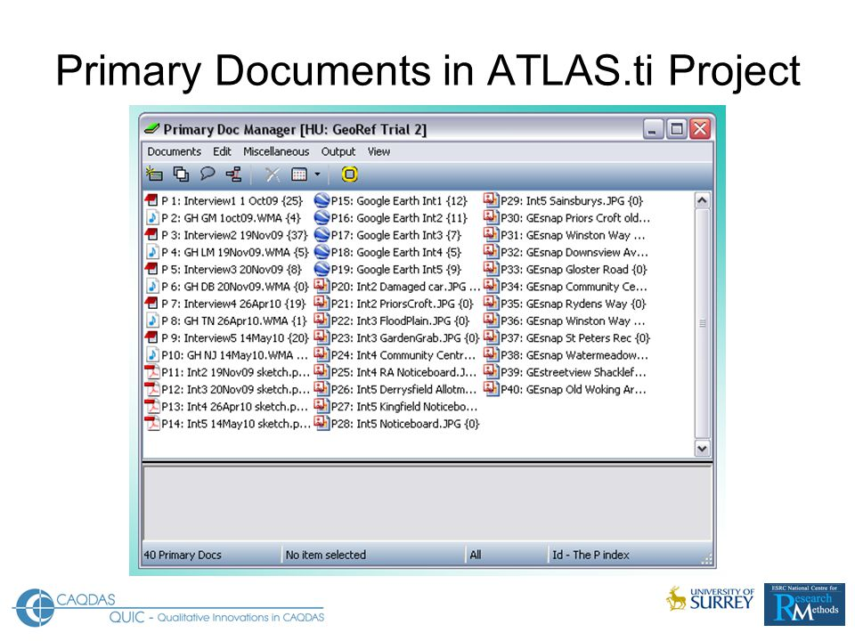 Primary Documents in ATLAS.ti Project
