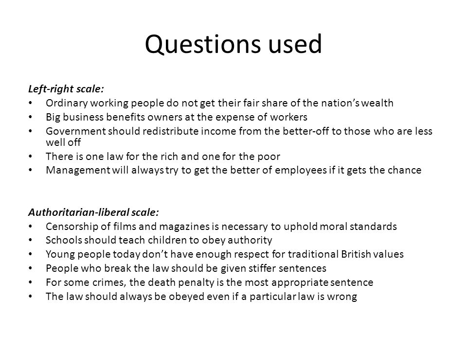 Questions used Left-right scale: Ordinary working people do not get their fair share of the nation's wealth Big business benefits owners at the expense of workers Government should redistribute income from the better-off to those who are less well off There is one law for the rich and one for the poor Management will always try to get the better of employees if it gets the chance Authoritarian-liberal scale: Censorship of films and magazines is necessary to uphold moral standards Schools should teach children to obey authority Young people today don't have enough respect for traditional British values People who break the law should be given stiffer sentences For some crimes, the death penalty is the most appropriate sentence The law should always be obeyed even if a particular law is wrong