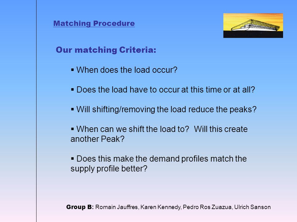 Matching Procedure Our matching Criteria:  When does the load occur.