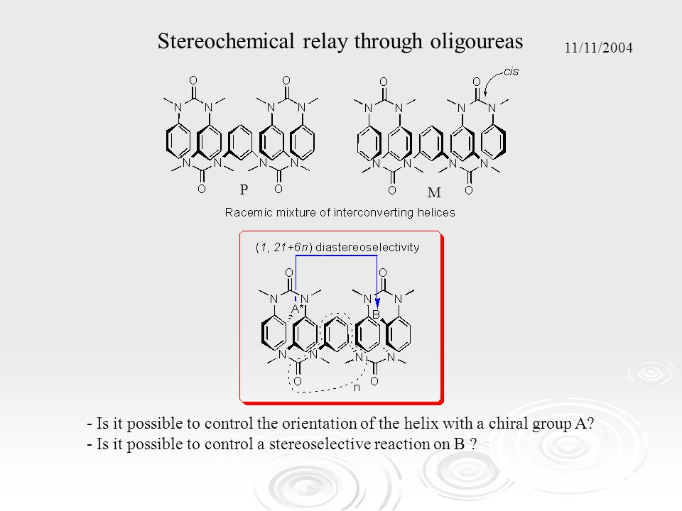 Stereochemical relay through oligoureas - Is it possible to control the orientation of the helix with a chiral group A.
