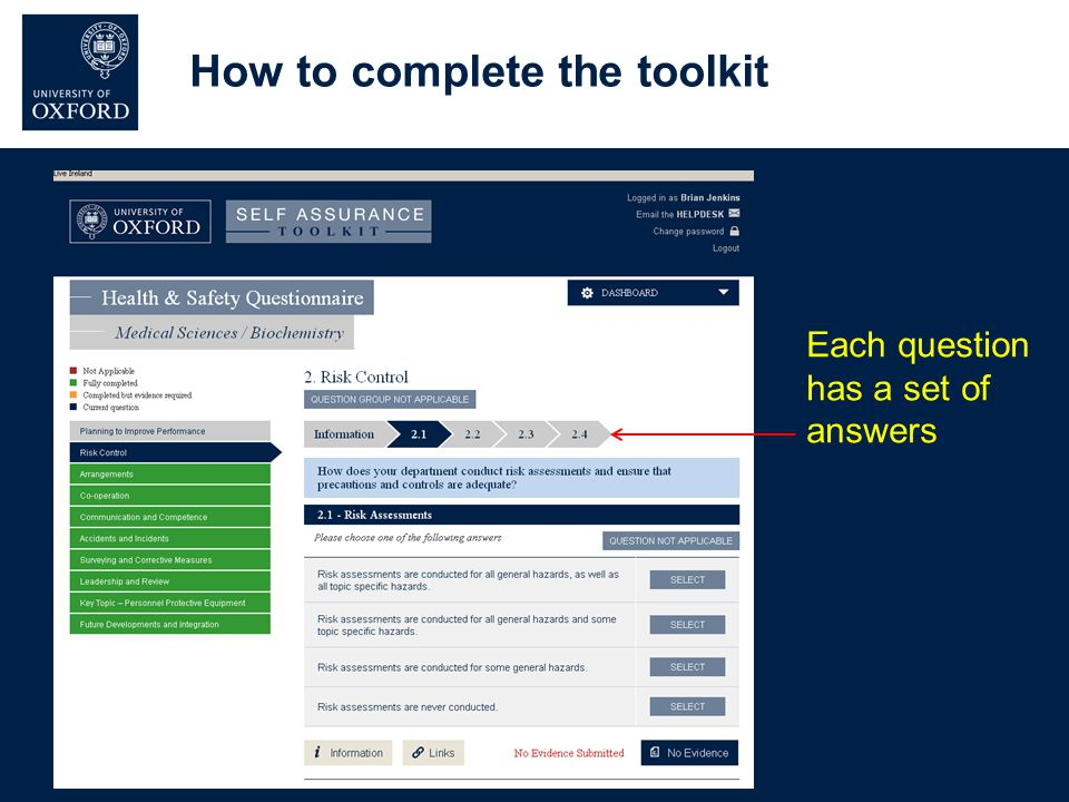 Each question has a set of answers How to complete the toolkit