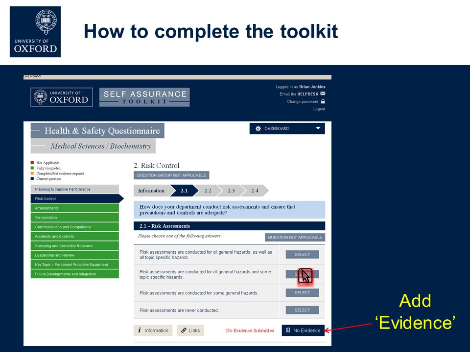How to complete the toolkit Add 'Evidence'