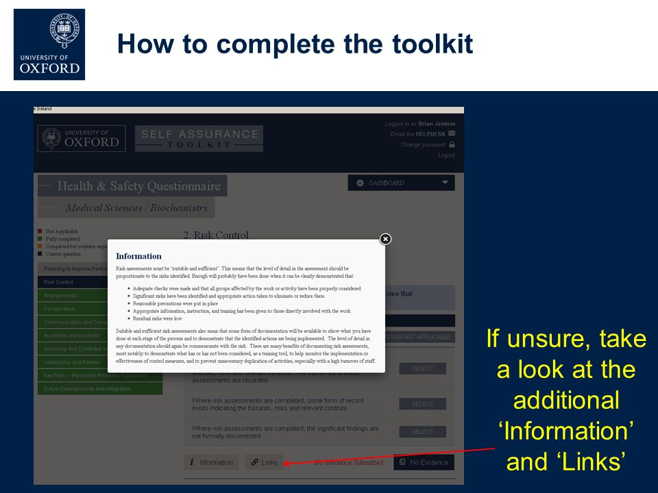 How to complete the toolkit If unsure, take a look at the additional 'Information' and 'Links'