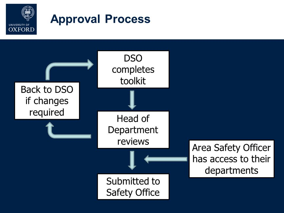 DSO completes toolkit Head of Department reviews Submitted to Safety Office Back to DSO if changes required Area Safety Officer has access to their de