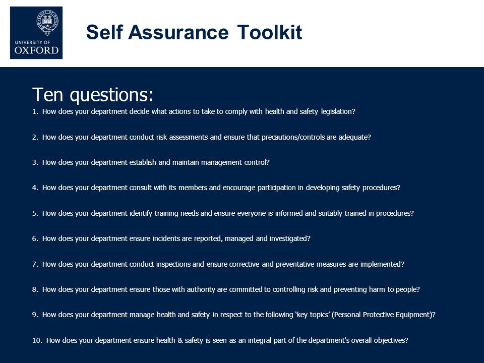 Self Assurance Toolkit Ten questions: 1.