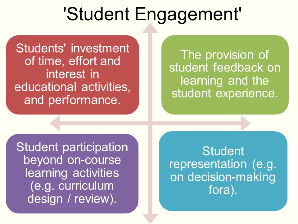 'Student Engagement' Students' investment of time, effort and interest in educational activities, and performance. The provision of student feedback o