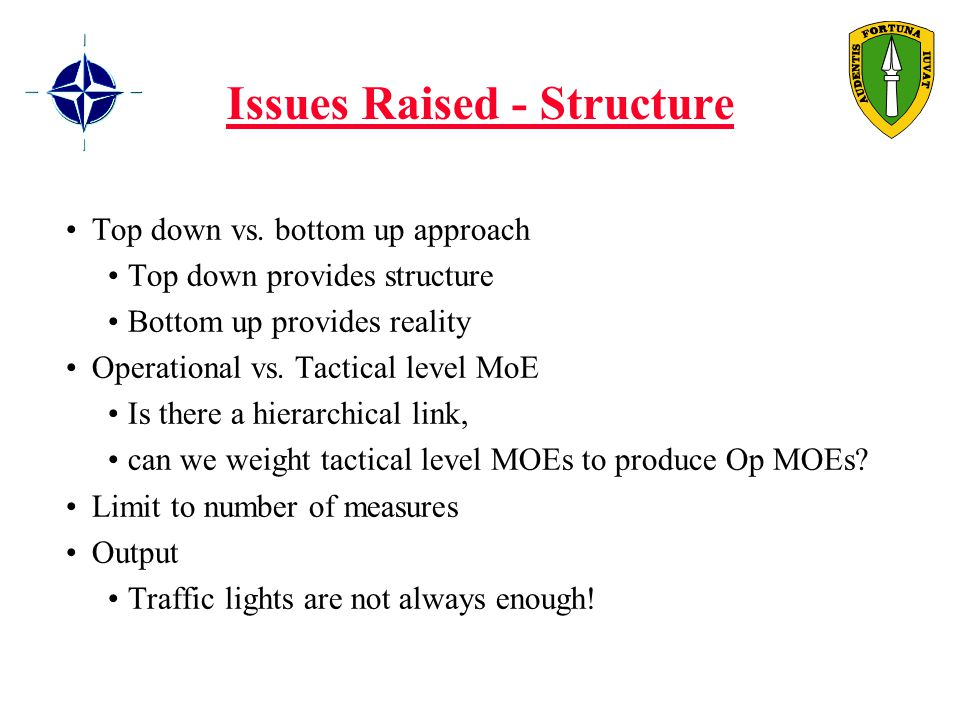 Issues Raised - Structure Top down vs.