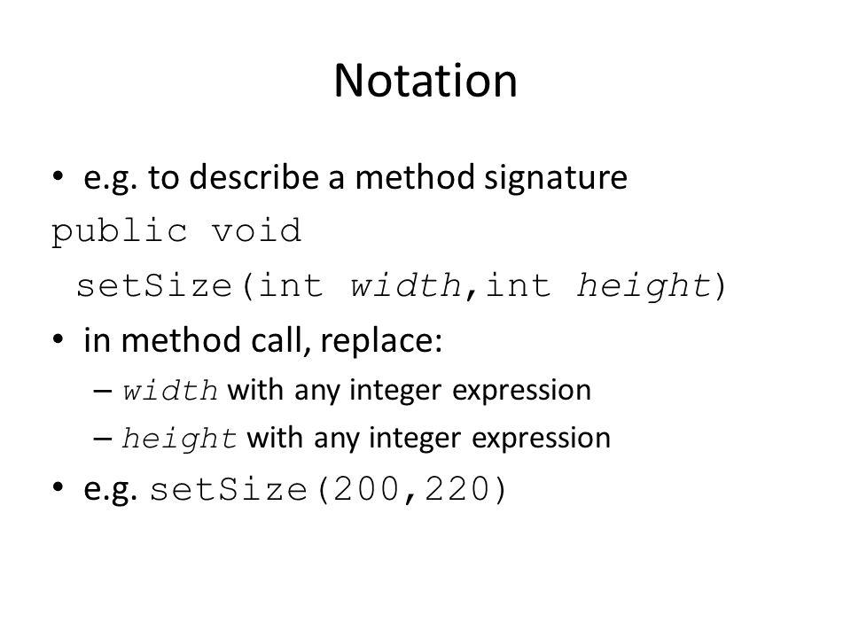 Notation e.g.