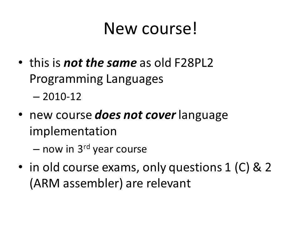 New course.