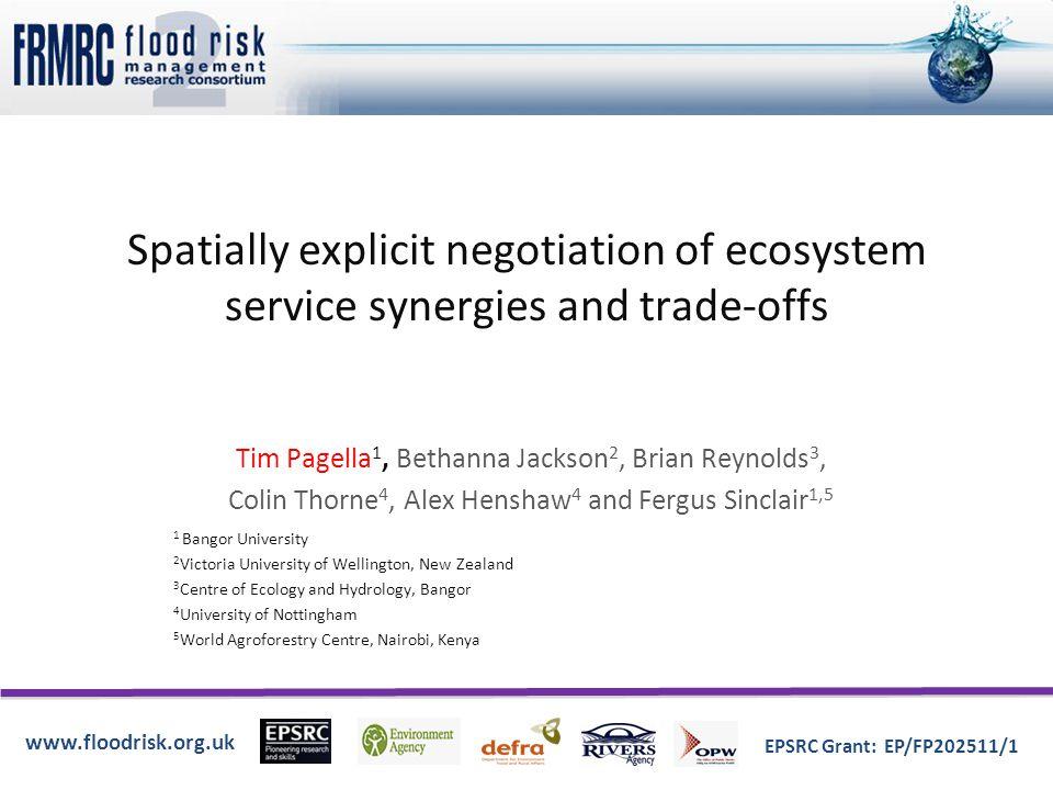 www.floodrisk.org.uk EPSRC Grant: EP/FP202511/1 Land management and flood risk
