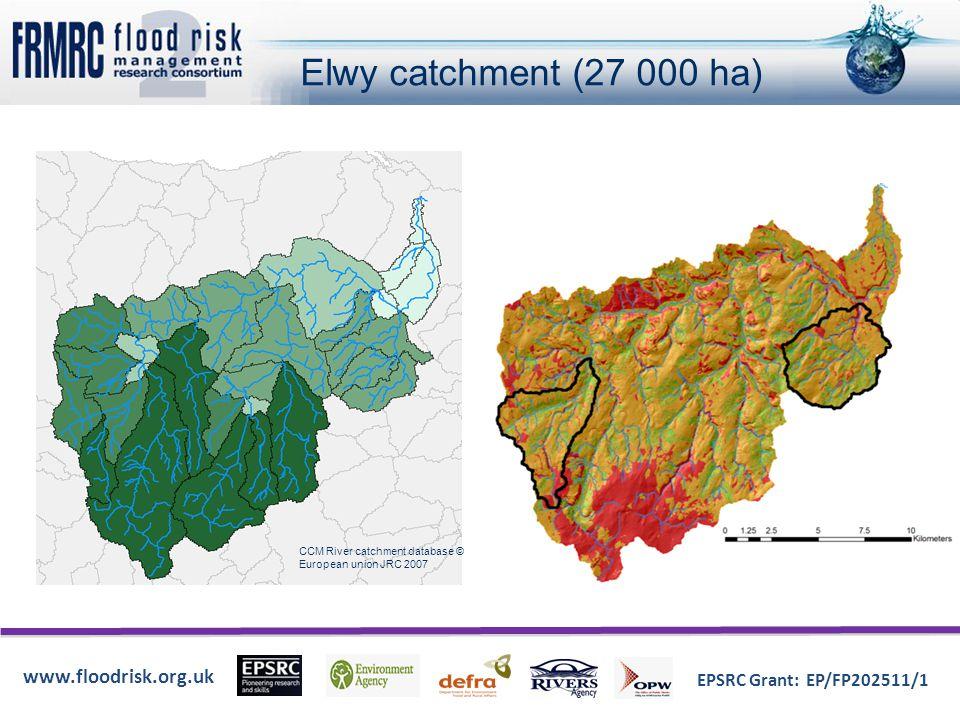 www.floodrisk.org.uk EPSRC Grant: EP/FP202511/1 Elwy catchment (27 000 ha) CCM River catchment database © European union JRC 2007
