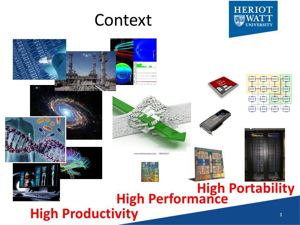 Context 1 High Productivity High Performance High Portability