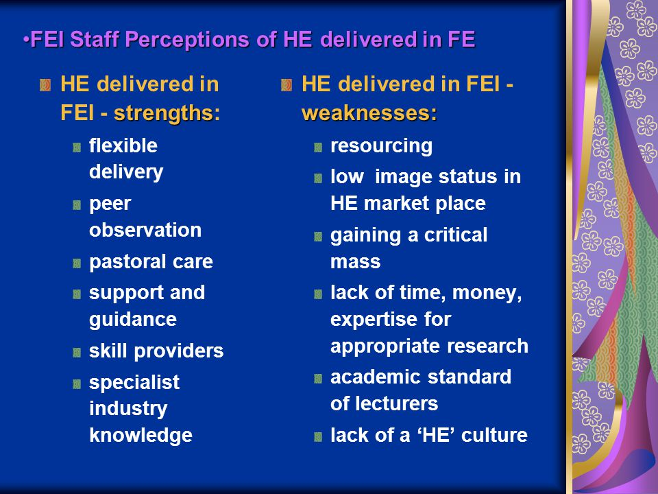 FEI Staff Perceptions of HE delivered in FEFEI Staff Perceptions of HE delivered in FE strengths HE delivered in FEI - strengths: flexible delivery pe