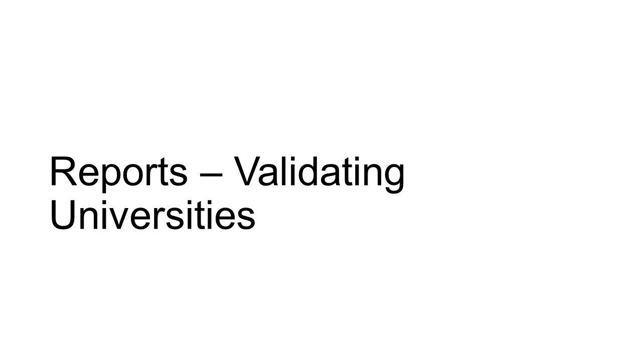 Reports – Validating Universities
