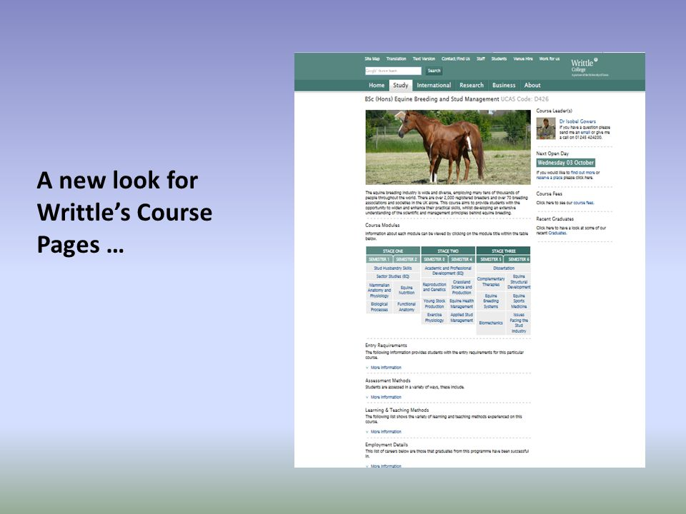 A new look for Writtle's Course Pages …