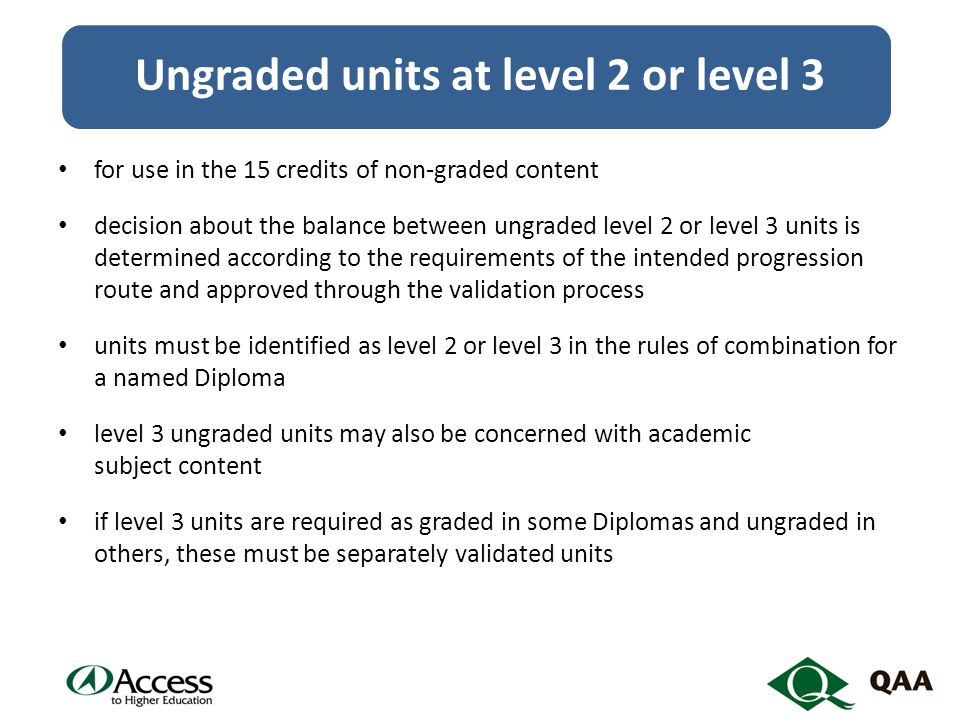 Ungraded units at level 2 or level 3 for use in the 15 credits of non-graded content decision about the balance between ungraded level 2 or level 3 units is determined according to the requirements of the intended progression route and approved through the validation process units must be identified as level 2 or level 3 in the rules of combination for a named Diploma level 3 ungraded units may also be concerned with academic subject content if level 3 units are required as graded in some Diplomas and ungraded in others, these must be separately validated units