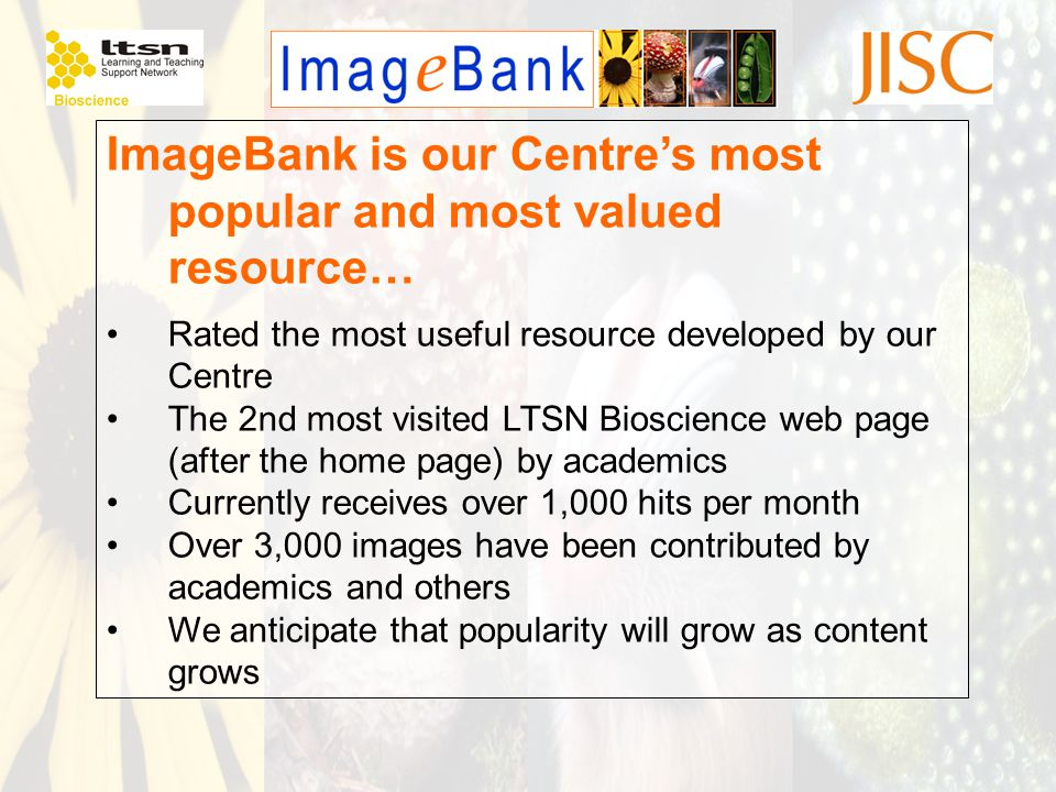 ImageBank is our Centre's most popular and most valued resource… Rated the most useful resource developed by our Centre The 2nd most visited LTSN Bios