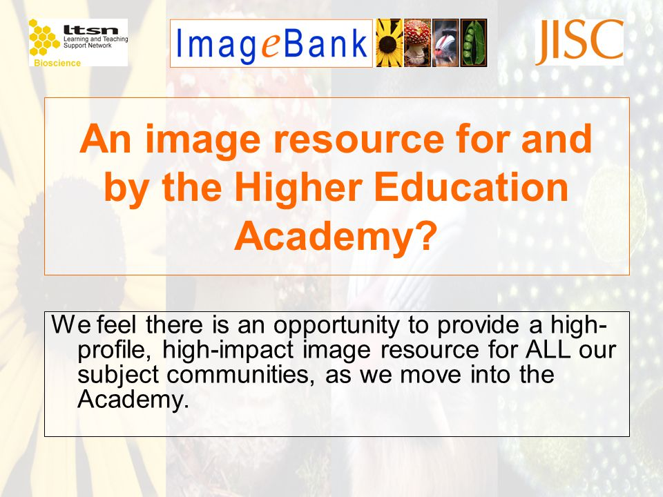 An image resource for and by the Higher Education Academy? We feel there is an opportunity to provide a high- profile, high-impact image resource for