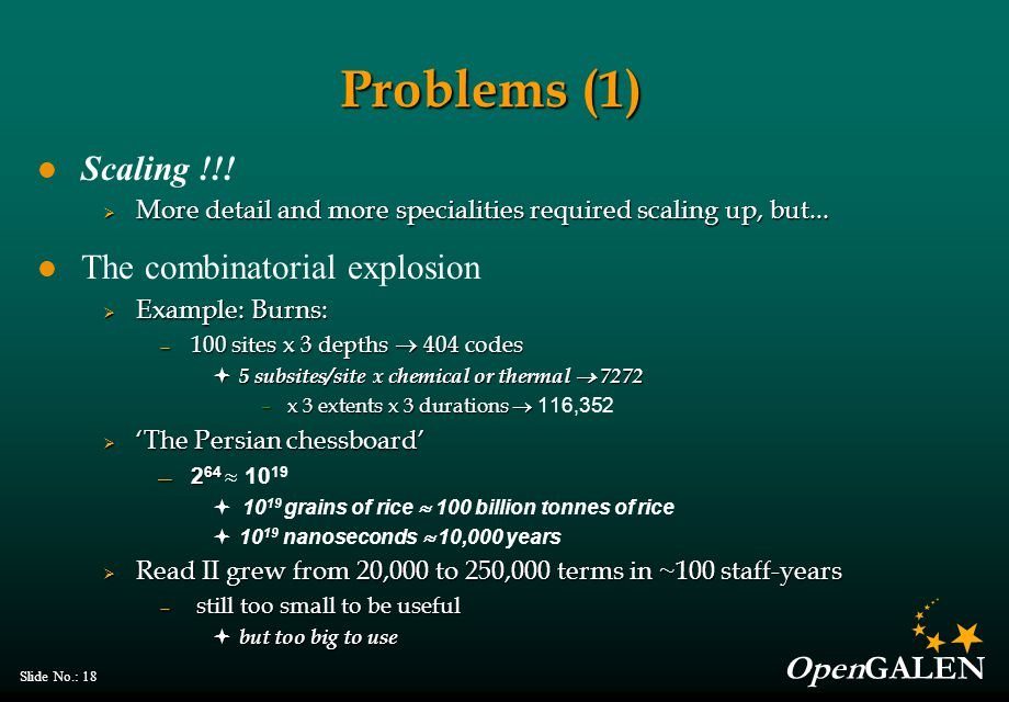 OpenGALEN Slide No.: 18 Problems (1) Scaling !!!  More detail and more specialities required scaling up, but... The combinatorial explosion  Example