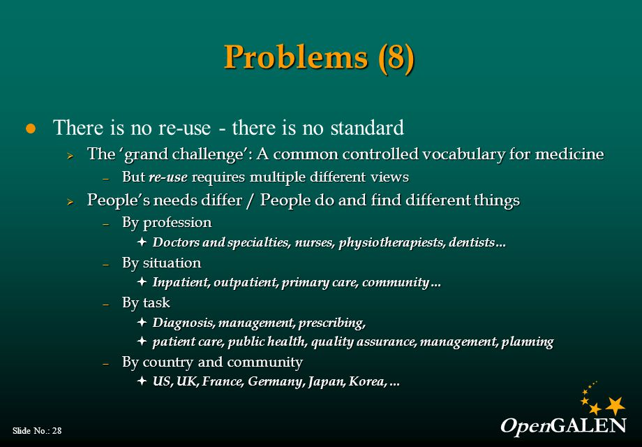 OpenGALEN Slide No.: 28 Problems (8) There is no re-use - there is no standard  The 'grand challenge': A common controlled vocabulary for medicine — But re-use requires multiple different views  People's needs differ / People do and find different things — By profession  Doctors and specialties, nurses, physiotherapiests, dentists… — By situation  Inpatient, outpatient, primary care, community… — By task  Diagnosis, management, prescribing,  patient care, public health, quality assurance, management, planning — By country and community  US, UK, France, Germany, Japan, Korea,...