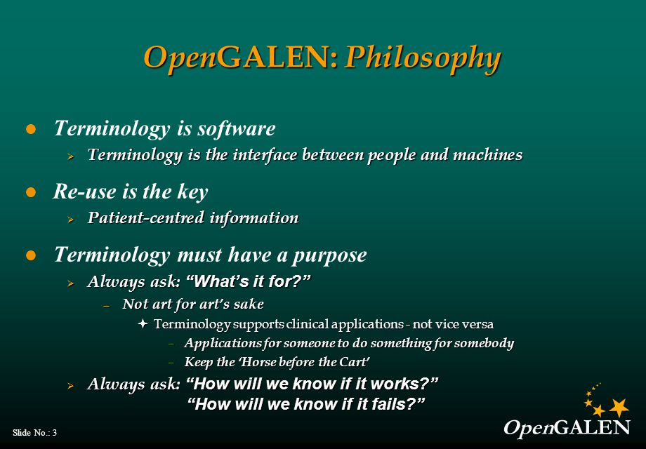 OpenGALEN Slide No.: 54 The Semantic Web and OWL Ontologies – fancy word for terminologies  Means many things to many people W3C has produced a standard language for compositional logic based ontologies, OWL  OIL + DAML  DAML+OIL  OWL — See oiled.man.ac.uk — See www.co-ode.org — See http://www.w3.org/2001/sw/WebOnt/ Rapid proliferation of open source tools and resources  No longer a biomedical problem only  Serious computer scientists finally involved