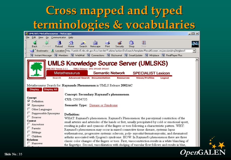 OpenGALEN Slide No.: 35 Cross mapped and typed terminologies & vocabularies