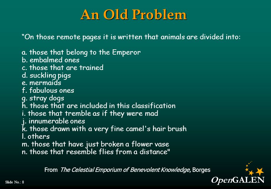 OpenGALEN Slide No.: 8 An Old Problem On those remote pages it is written that animals are divided into: a.