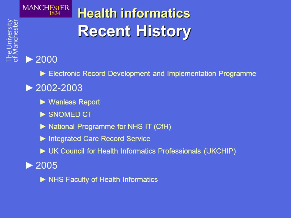 Health informatics Recent History ►2000 ►Electronic Record Development and Implementation Programme ►2002-2003 ►Wanless Report ►SNOMED CT ►National Pr