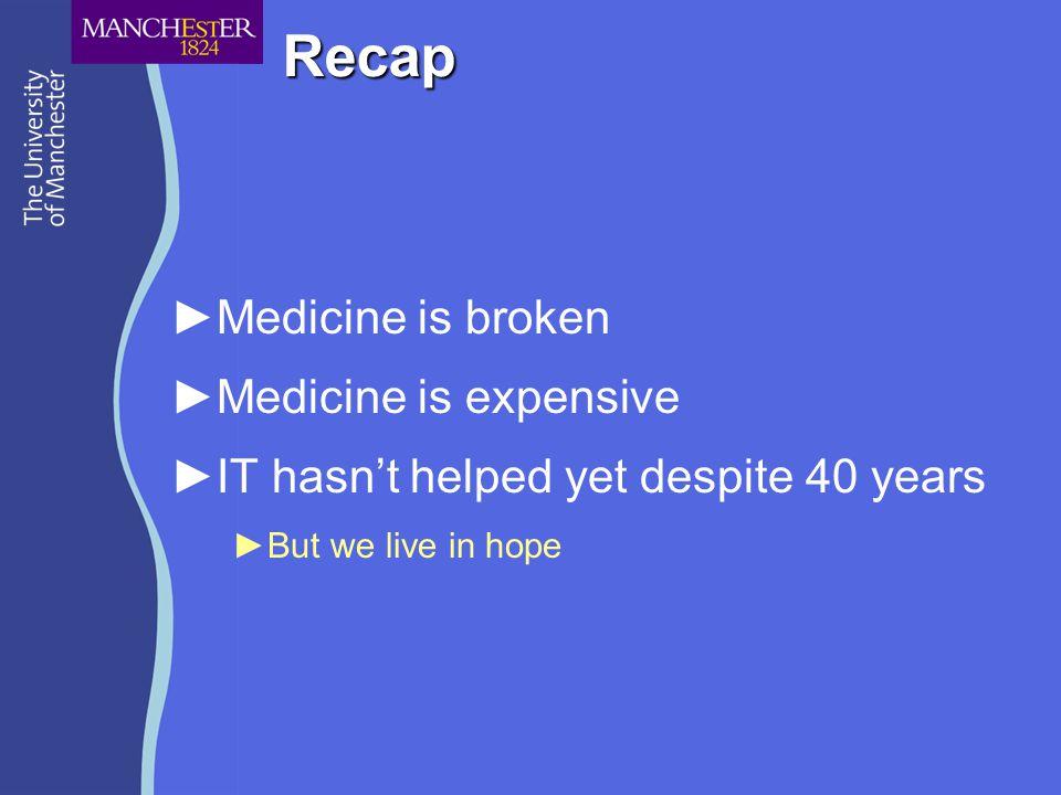 Recap ►Medicine is broken ►Medicine is expensive ►IT hasn't helped yet despite 40 years ►But we live in hope