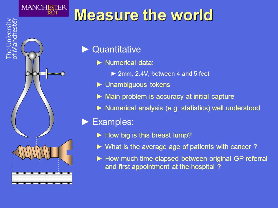Measure the world ►Quantitative ►Numerical data: ►2mm, 2.4V, between 4 and 5 feet ►Unambiguous tokens ►Main problem is accuracy at initial capture ►Numerical analysis (e.g.