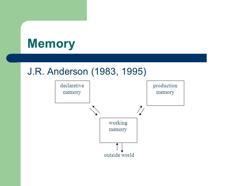 Memory J.R. Anderson (1983, 1995) declarative memory working memory production memory outside world