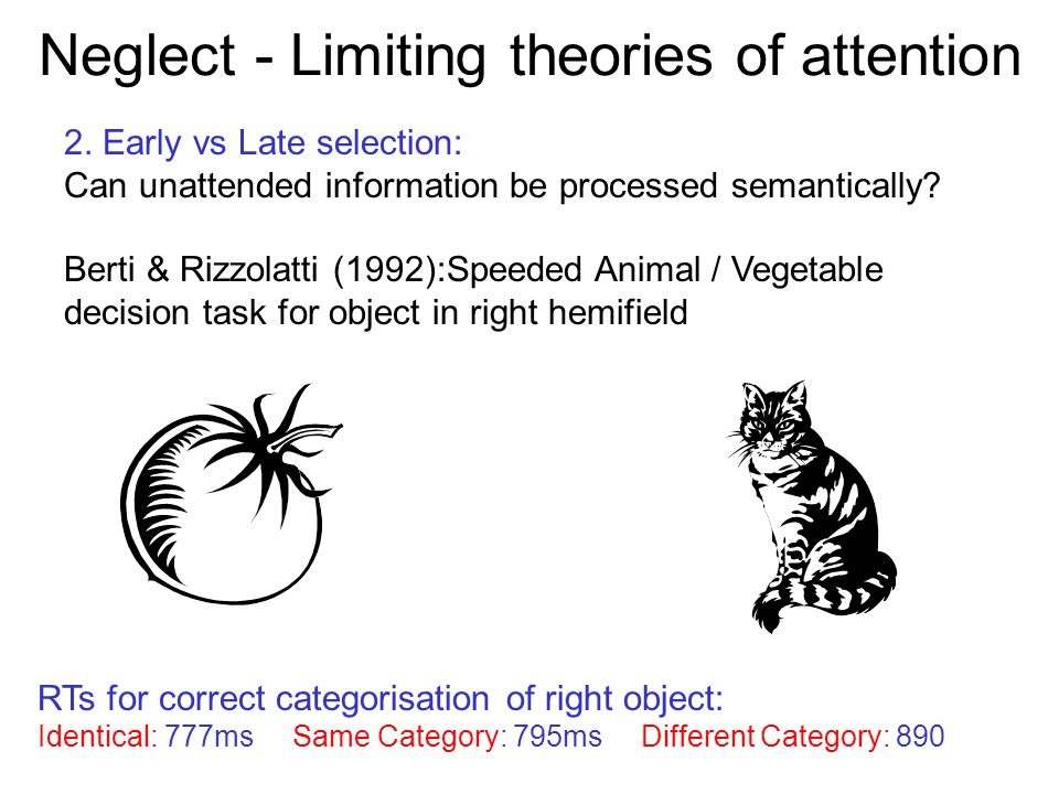 Neglect - Limiting theories of attention 2. Early vs Late selection: Can unattended information be processed semantically? Berti & Rizzolatti (1992):S