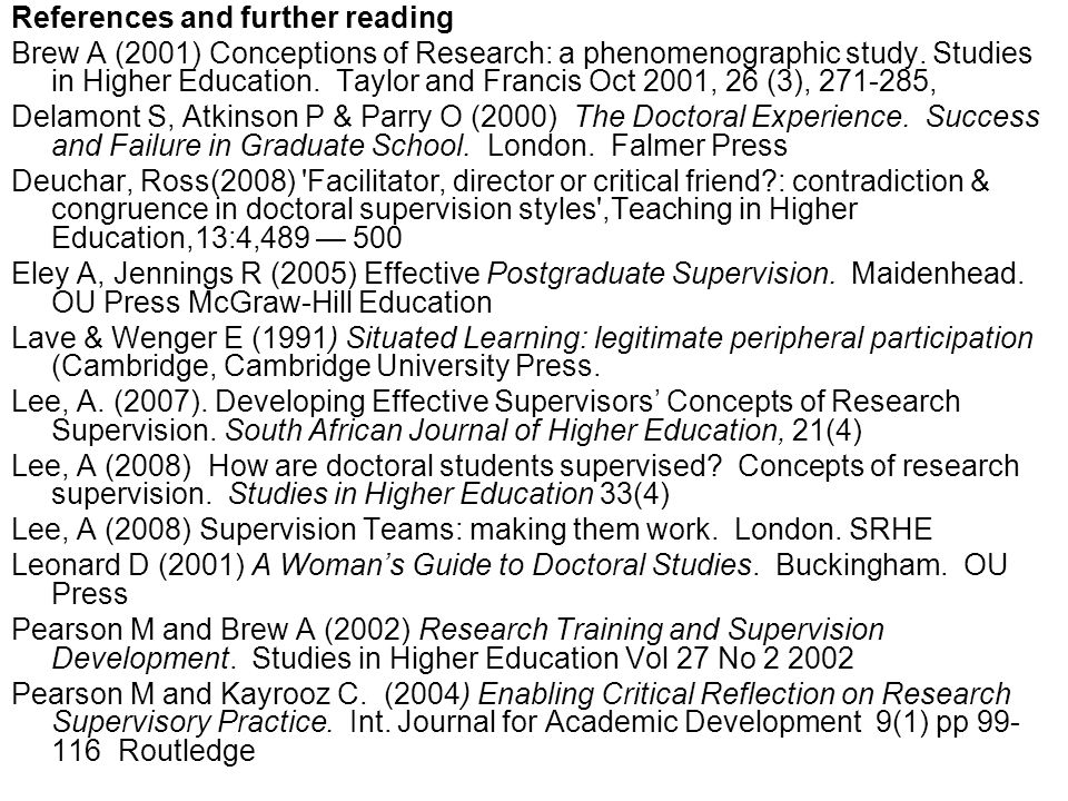References and further reading Brew A (2001) Conceptions of Research: a phenomenographic study.