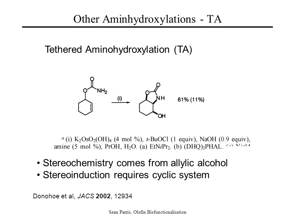 Sean Parris, Olefin Bisfunctionalisation Other Aminhydroxylations - TA Tethered Aminohydroxylation (TA) Donohoe et al, JACS 2002, 12934 Stereochemistr