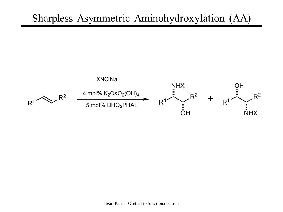 Sean Parris, Olefin Bisfunctionalisation Sharpless Asymmetric Aminohydroxylation (AA)