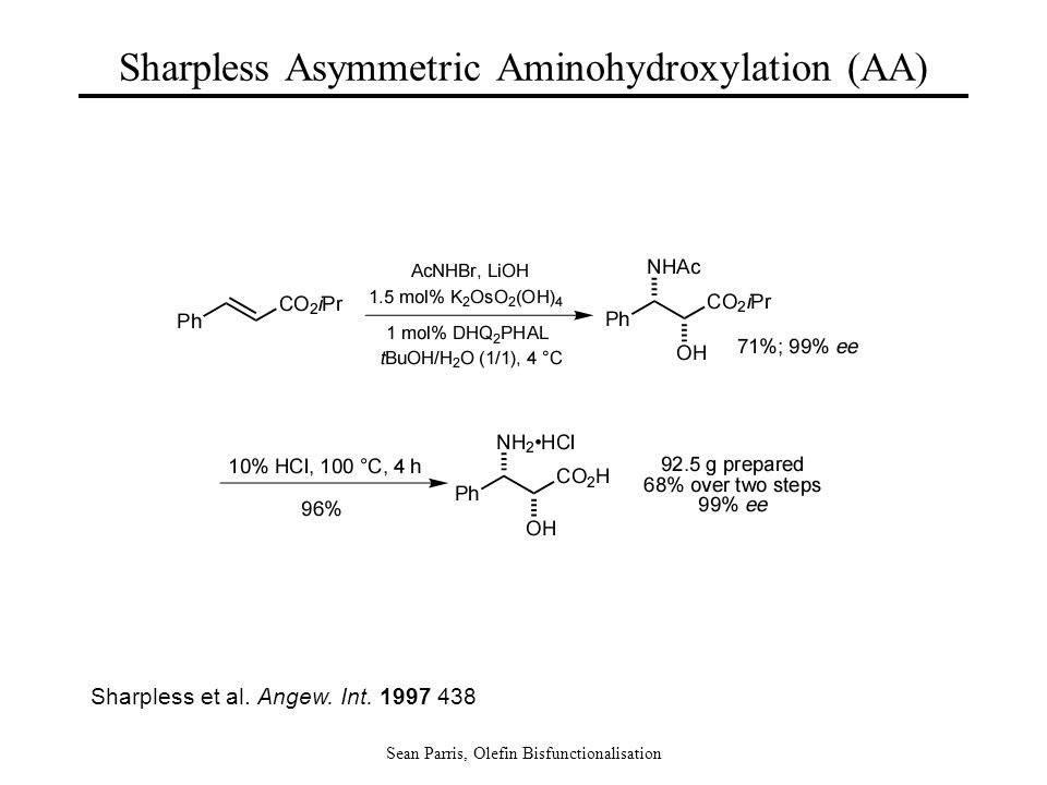 Sean Parris, Olefin Bisfunctionalisation Sharpless et al. Angew. Int. 1997 438 Sharpless Asymmetric Aminohydroxylation (AA)