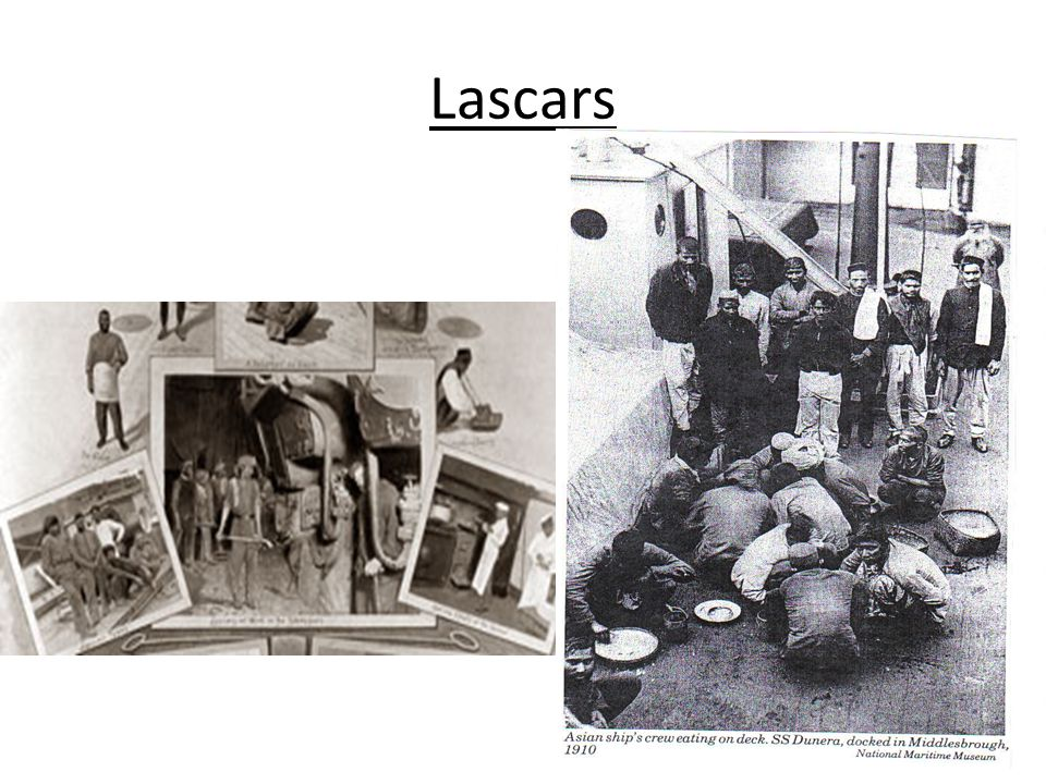 Lascars Collage featuring lascars at work and in their lodgings on shore, Illustrated London News, 190606 E nlarge Lascars' working conditions were ha